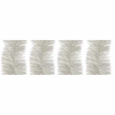 4x winter witte kerstslinger 10 cm breed x 270 cm versiering