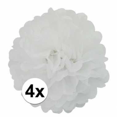 4x witte pompom versiering 35 cm