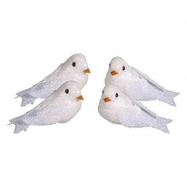 4x witte versiering duiven met glitters 5 cm