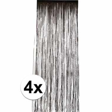 4x zwart versiering deurgordijn