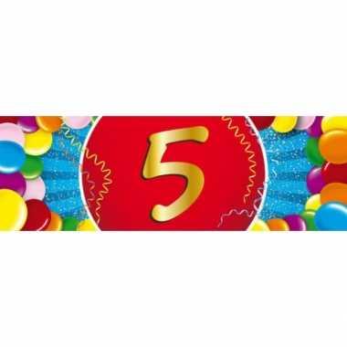 5 jaar leeftijd sticker 19 x 6 cm verjaardag versiering