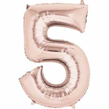 5 jaar versiering cijfer ballon rose goud