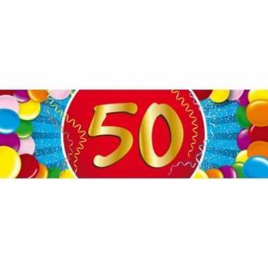 50 jaar leeftijd sticker 19 x 6 cm verjaardag versiering