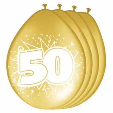 50 jaar versiering metallic gouden ballonnen 16x stuks