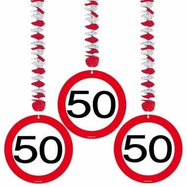 50 jaar versiering stopbord 9x stuks