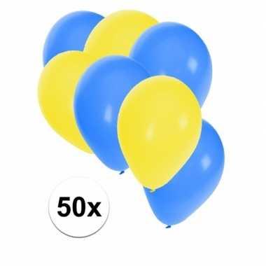 50x ballonnen 27 cm geel / blauwe versiering