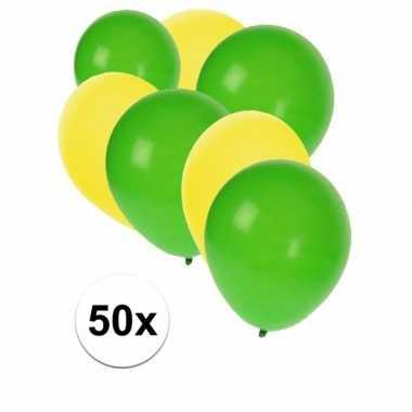 50x ballonnen 27 cm geel / groene versiering