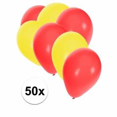 50x ballonnen 27 cm geel / rode versiering