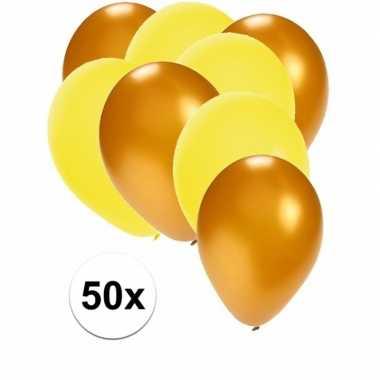 50x ballonnen 27 cm goud / gele versiering