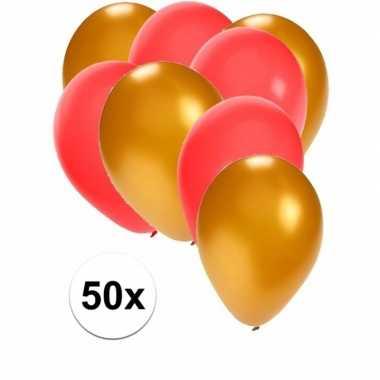 50x ballonnen 27 cm goud / rode versiering