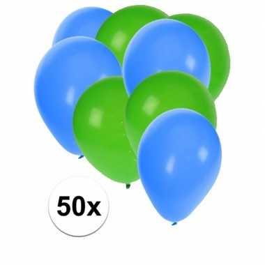 50x ballonnen 27 cm groen / blauwe versiering