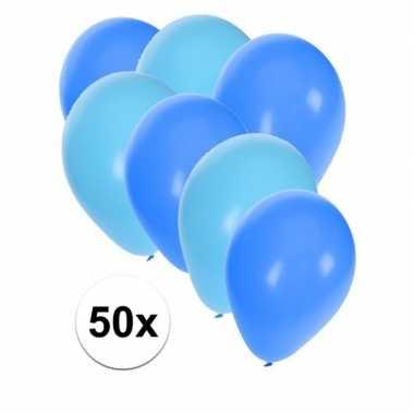 50x ballonnen 27 cm lichtblauw / blauwe versiering