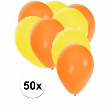 50x ballonnen 27 cm oranje / gele versiering