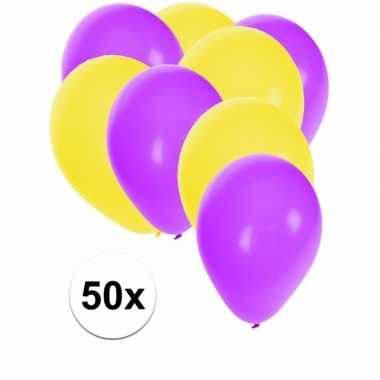 50x ballonnen 27 cm paars / gele versiering