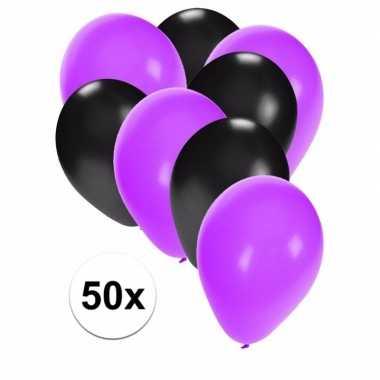 50x ballonnen 27 cm paars / zwarte versiering