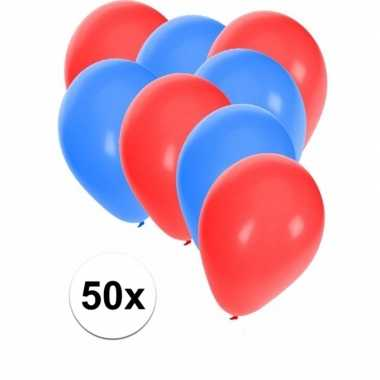 50x ballonnen 27 cm rood / blauwe versiering