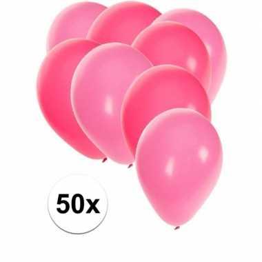 50x ballonnen 27 cm roze / lichtroze versiering