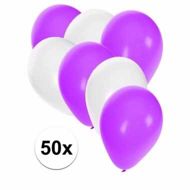 50x ballonnen 27 cm wit / paarse versiering