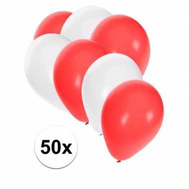50x ballonnen 27 cm wit / rode versiering