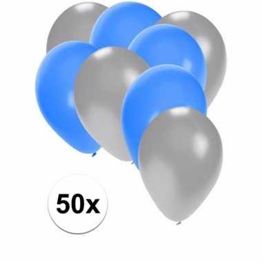 50x ballonnen 27 cm zilver / blauwe versiering