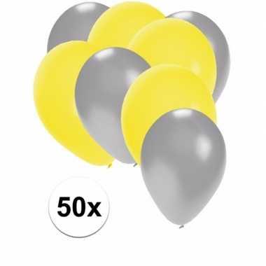 50x ballonnen 27 cm zilver / gele versiering