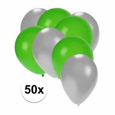 50x ballonnen 27 cm zilver / groene versiering