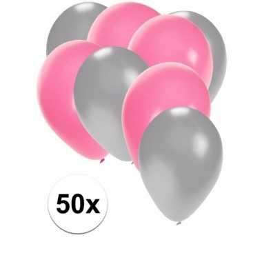 50x ballonnen 27 cm zilver / lichtroze versiering