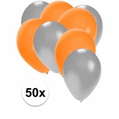 50x ballonnen 27 cm zilver / oranje versiering