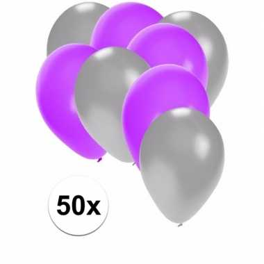 50x ballonnen 27 cm zilver / paarse versiering