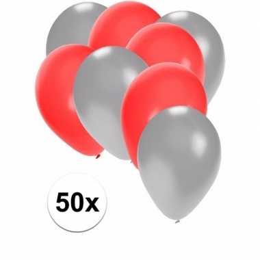 50x ballonnen 27 cm zilver / rode versiering