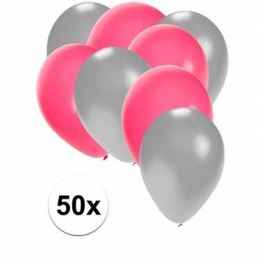 50x ballonnen 27 cm zilver / roze versiering
