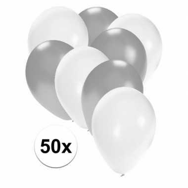 50x ballonnen 27 cm zilver / witte versiering