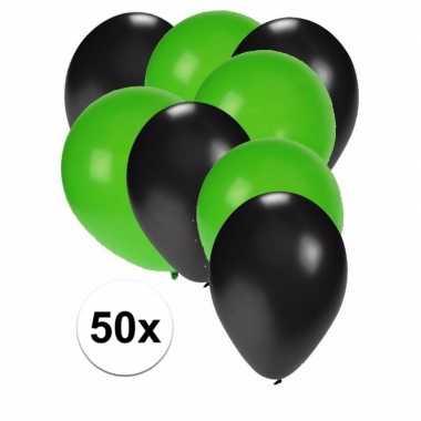 50x ballonnen 27 cm zwart / groene versiering