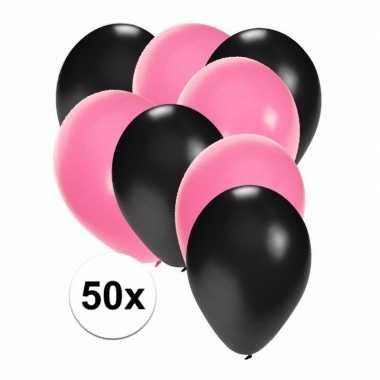 50x ballonnen 27 cm zwart / lichtroze versiering