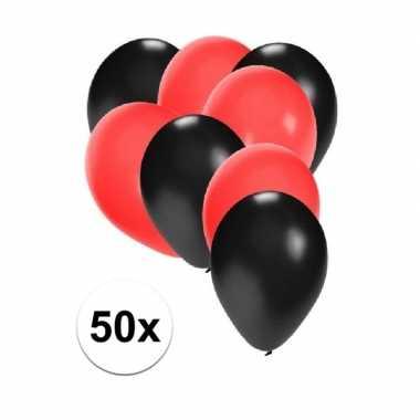 50x ballonnen 27 cm zwart / rode versiering