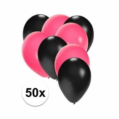 50x ballonnen 27 cm zwart / roze versiering