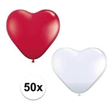 50x bruiloft ballonnen wit / rood hartjes versiering
