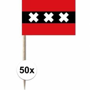 50x cocktailprikkers amsterdam 8 cm vlaggetje stad versiering