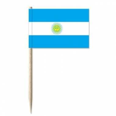 50x cocktailprikkers argentini? 8 cm vlaggetje landen versiering