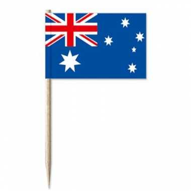 50x cocktailprikkers australi? 8 cm vlaggetje landen versiering