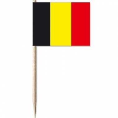50x cocktailprikkers belgi? 8 cm vlaggetje landen versiering