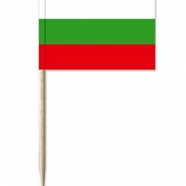 50x cocktailprikkers bulgarije 8 cm vlaggetje landen versiering