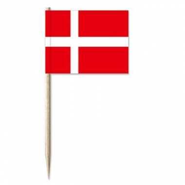 50x cocktailprikkers denemarken 8 cm vlaggetje landen versiering