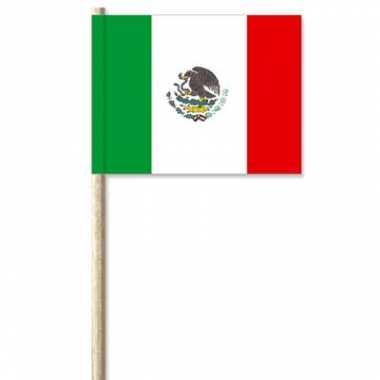 50x cocktailprikkers mexico 8 cm vlaggetje landen versiering