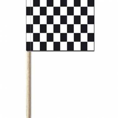 50x cocktailprikkers race/finish vlag 8 cm vlaggetjes versiering