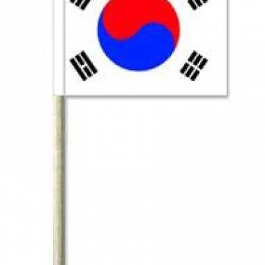 50x cocktailprikkers zuid korea 8 cm vlaggetje landen versiering