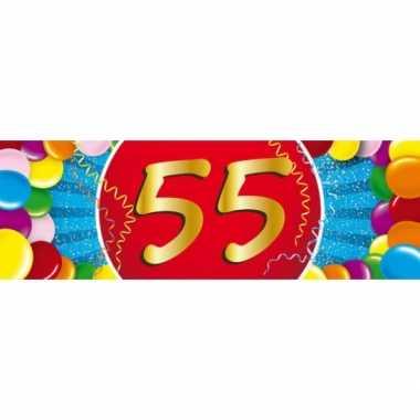 55 jaar leeftijd sticker 19 x 6 cm verjaardag versiering