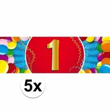 5x 1 jaar leeftijd stickers 19 x 6 cm verjaardag versiering