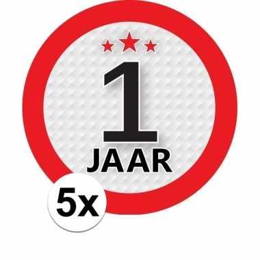 5x 1 jaar leeftijd stickers rond 9 cm verjaardag versiering