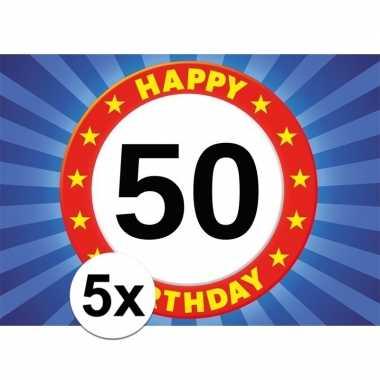 5x 50 jaar leeftijd stickers 7,5 x 10,5 cm verjaardag versiering